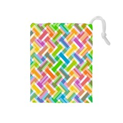 Cool Abstract Pattern Colorful Drawstring Pouches (medium)  by goodart