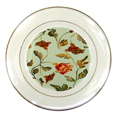 Cream And Green Background Flowers  Porcelain Plates by bywhacky
