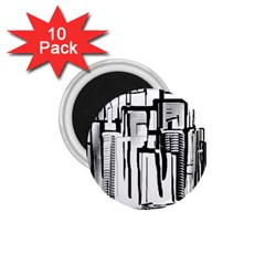 Black And White City 1 75  Magnets (10 Pack)  by digitaldivadesigns