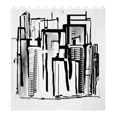Black And White City Shower Curtain 66  X 72  (large)  by digitaldivadesigns