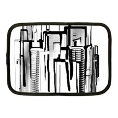 Black And White City Netbook Case (medium)  by digitaldivadesigns
