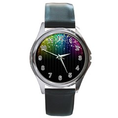 Colorful Space Rainbow Stars Round Metal Watch