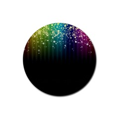 Colorful Space Rainbow Stars Rubber Round Coaster (4 Pack)