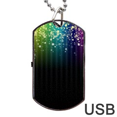 Colorful Space Rainbow Stars Dog Tag Usb Flash (one Side)