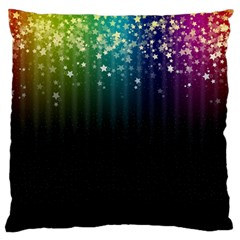 Colorful Space Rainbow Stars Large Flano Cushion Case (one Side)