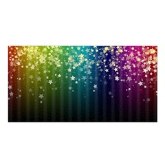 Colorful Space Rainbow Stars Satin Shawl