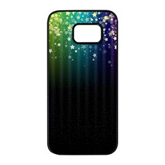 Colorful Space Rainbow Stars Samsung Galaxy S7 Edge Black Seamless Case