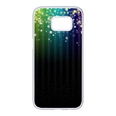 Colorful Space Rainbow Stars Samsung Galaxy S7 Edge White Seamless Case