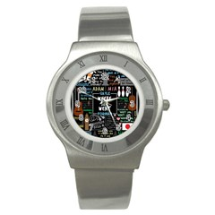 Book Quote Collage Stainless Steel Watch by Samandel