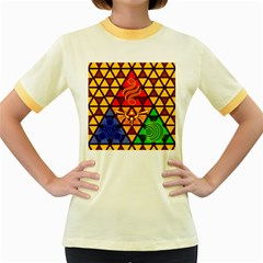 The Triforce Stained Glass Women s Fitted Ringer T Shirts
