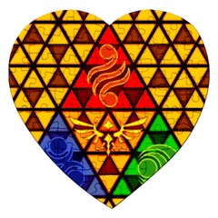 The Triforce Stained Glass Jigsaw Puzzle (heart) by Samandel