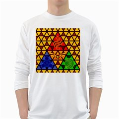 The Triforce Stained Glass White Long Sleeve T Shirts