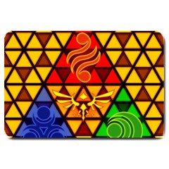 The Triforce Stained Glass Large Doormat  by Samandel