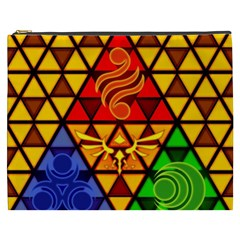 The Triforce Stained Glass Cosmetic Bag (xxxl)  by Samandel