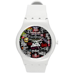 Metal Bands College Round Plastic Sport Watch (m) by Samandel