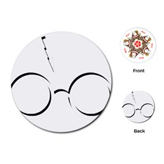 Harry Potter Inspired Lightning Glasses Symbol Playing Cards (round)  by Samandel