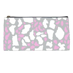Pink Grey White Cow Print Pencil Cases by LoolyElzayat