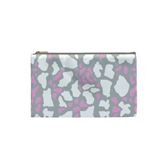 Pink Grey White Cow Print Cosmetic Bag (small)  by LoolyElzayat