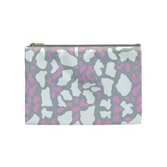 Pink Grey White Cow Print Cosmetic Bag (medium)  by LoolyElzayat