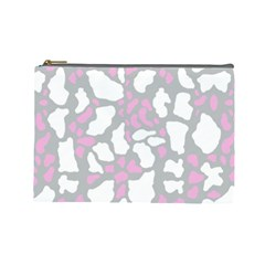 Pink Grey White Cow Print Cosmetic Bag (large)