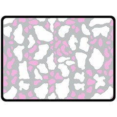Pink Grey White Cow Print Double Sided Fleece Blanket (large)  by LoolyElzayat
