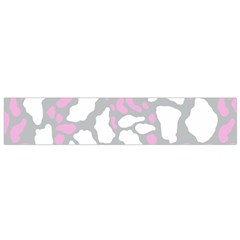 Pink Grey White Cow Print Small Flano Scarf