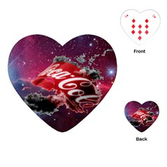 Coca Cola Drinks Logo On Galaxy Nebula Playing Cards (heart)  by Samandel