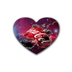 Coca Cola Drinks Logo On Galaxy Nebula Rubber Coaster (heart)