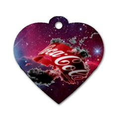 Coca Cola Drinks Logo On Galaxy Nebula Dog Tag Heart (two Sides)