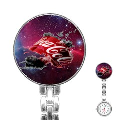 Coca Cola Drinks Logo On Galaxy Nebula Stainless Steel Nurses Watch