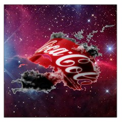Coca Cola Drinks Logo On Galaxy Nebula Large Satin Scarf (square) by Samandel
