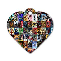 Comic Book Images Dog Tag Heart (one Side)