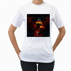 Dragon Legend Art Fire Digital Fantasy Women s T Shirt (white)