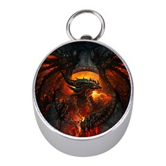 Dragon Legend Art Fire Digital Fantasy Mini Silver Compasses