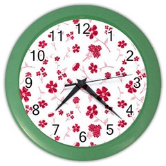Sweet Shiny Floral Red Color Wall Clocks by ImpressiveMoments