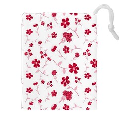Sweet Shiny Floral Red Drawstring Pouches (xxl) by ImpressiveMoments