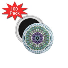 Hearts In A Decorative Star Flower Mandala 1 75  Magnets (100 Pack)  by pepitasart