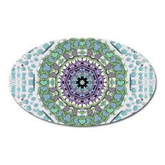Hearts In A Decorative Star Flower Mandala Oval Magnet by pepitasart