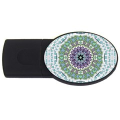 Hearts In A Decorative Star Flower Mandala Usb Flash Drive Oval (4 Gb)