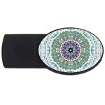 Hearts In A Decorative Star Flower Mandala USB Flash Drive Oval (4 GB) Front