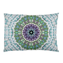 Hearts In A Decorative Star Flower Mandala Pillow Case by pepitasart