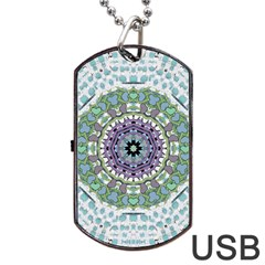 Hearts In A Decorative Star Flower Mandala Dog Tag Usb Flash (one Side) by pepitasart
