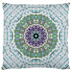 Hearts In A Decorative Star Flower Mandala Large Cushion Case (two Sides) by pepitasart