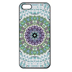 Hearts In A Decorative Star Flower Mandala Apple Iphone 5 Seamless Case (black) by pepitasart