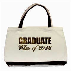 Graduate Typography Class Of 2018 Golden Faux Gold Foil Text Chic Graduation Basic Tote Bag by yoursparklingshop