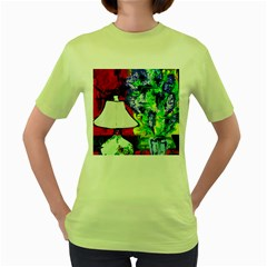 Lilac, Lamp And Curtain Window 2 Women s Green T-shirt by bestdesignintheworld