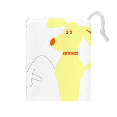 Mutt Dog Animal Domestic Vector Drawstring Pouches (large)