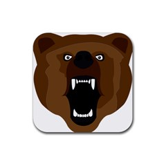 Bear Brown Set Paw Isolated Icon Rubber Square Coaster (4 Pack)  by Nexatart