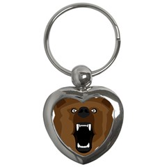 Bear Brown Set Paw Isolated Icon Key Chains (heart)