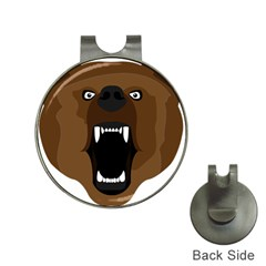 Bear Brown Set Paw Isolated Icon Hat Clips With Golf Markers